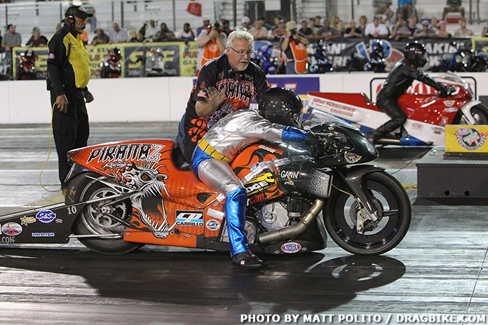 Lane Driver Q. Pos. RT 60 FT FT FT FT MPH ET MPH; Left: Steve Torrence WIN: Right: Brittany Force: