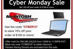 McIntosh Machine & Fabrication : Cyber Monday Sale 15% OFF