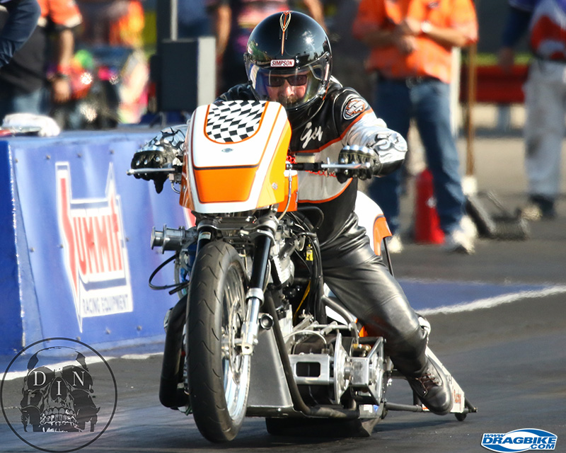 Gary Stroud is one tough motorcycle drag racer in any class.