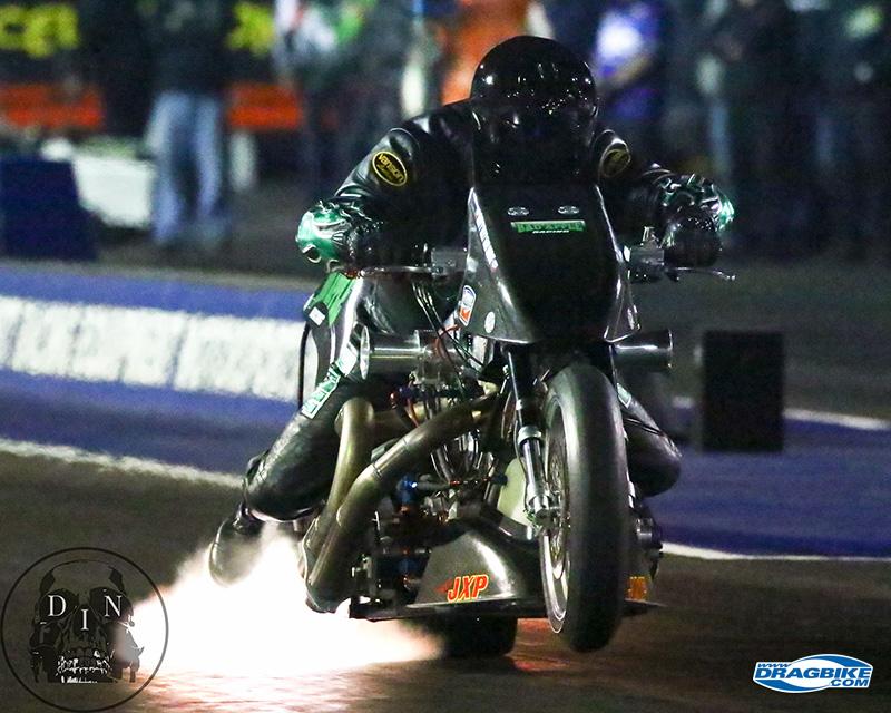 Tracy Kile is a formidable presence on a Top Fuel drag bike