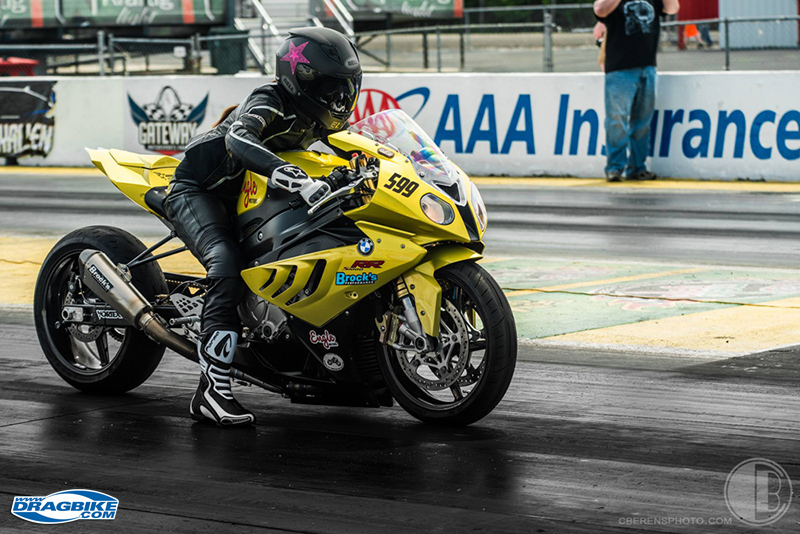 The Kansas City BMW dealership, Engle Motors, had a drag bike and had invited Elyse to come out to a test and tune session and hang out with them one night.