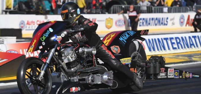 Past Arizona winner Rickey House has Magic Dry Nitro Harley set up for big weekend
