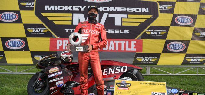 NHRA: Matt Smith Wins Pro Bike Battle