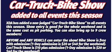 "XDA Adds non-judged ""Car-Truck-Bike Show"" to all events this season"