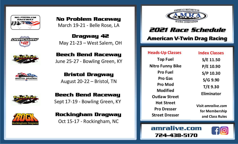 2021 AMRA Motorcycle Drag Racing Schedule