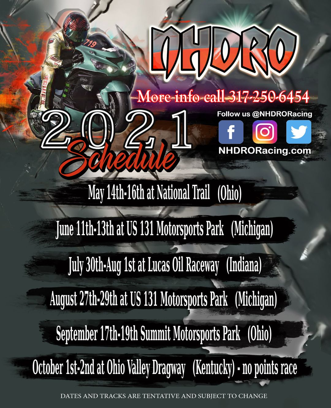 NHDRO 2021 Motorcycle Drag Racing Schedule