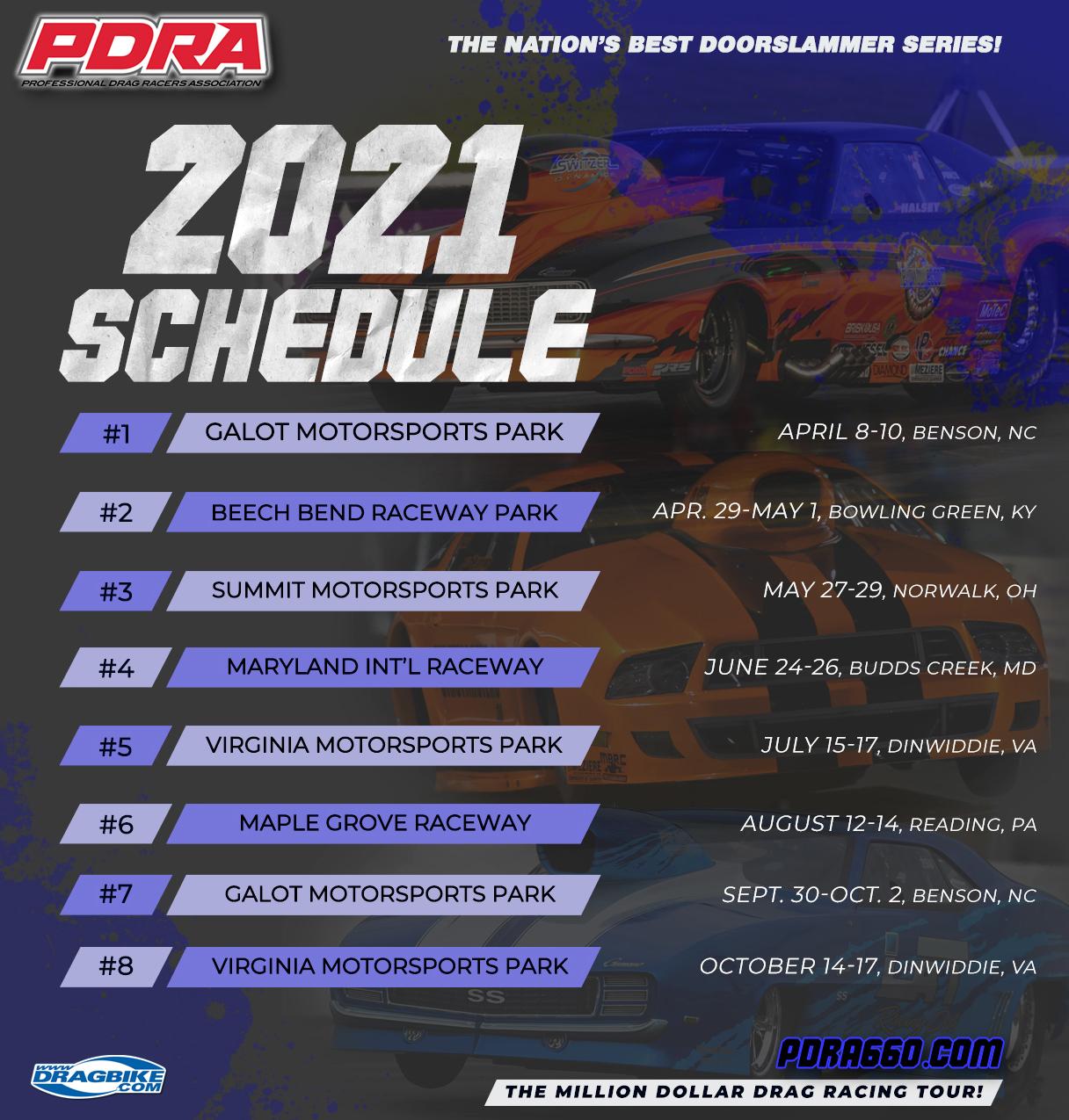 PDRA: 2021 Drag Racing Schedule