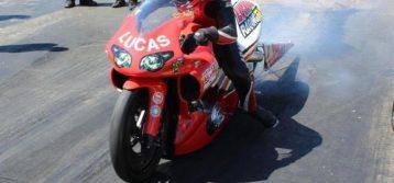 Gator's bite Lucas Oil Pro Stock Motorcyclists Hector Arana Jr., Hector Arana Sr.